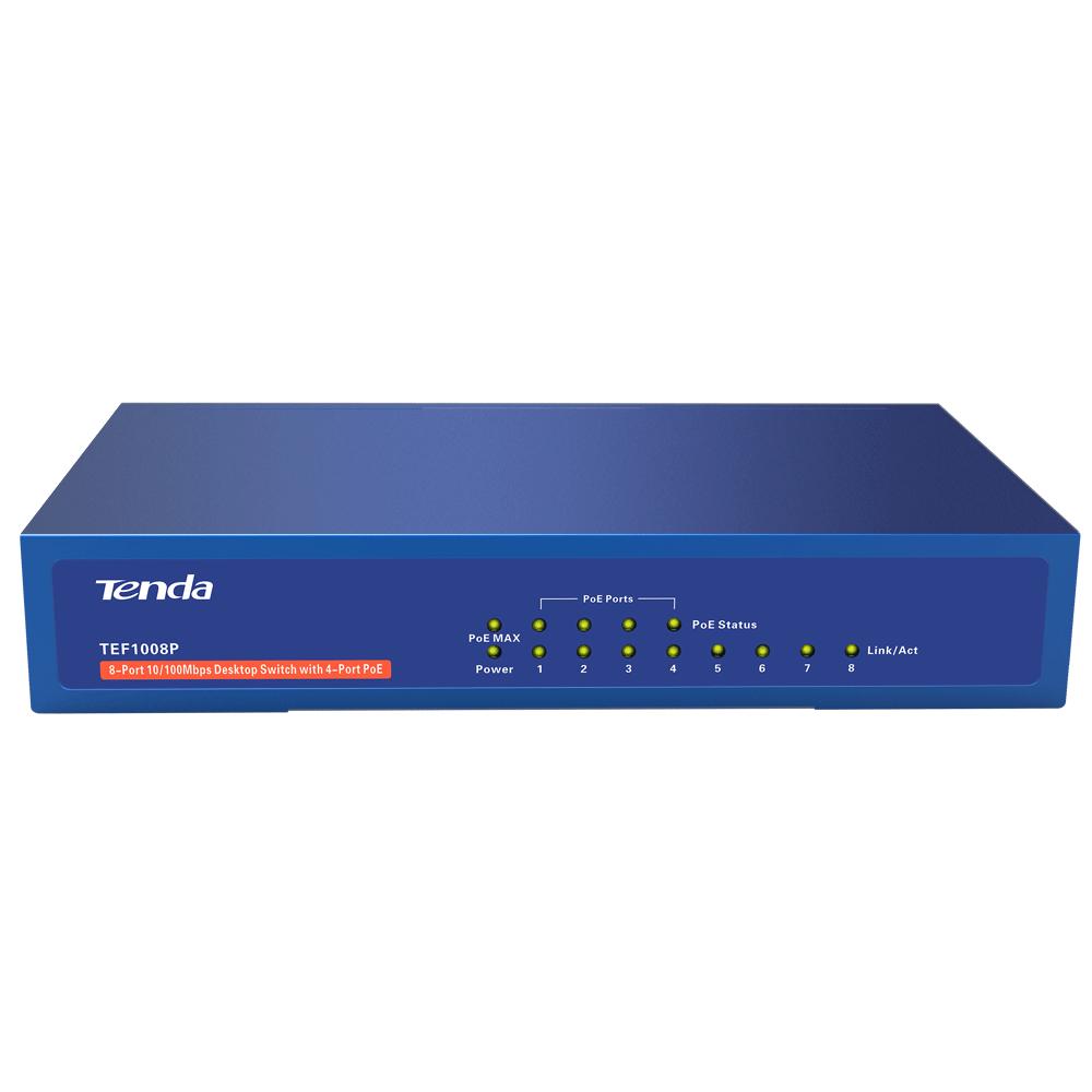 Коммутатор TENDA Коммутатор  TEF1008P  (4x100Mb+4PoE 58Вт max)