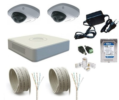 Комплект IP видеонаблюдения Hikvision IP-KIT 2x1.3Mp MF V1.0