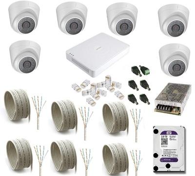 Комплект IP видеонаблюдения Hikvision IP-KIT 6x1.0Mp MF V1.0